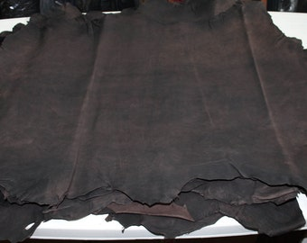 Italian Thick Goatskin leather 12 skins hides Vegetable tanned RUSTIC ANTIQUED dark Brown 80-90sqf
