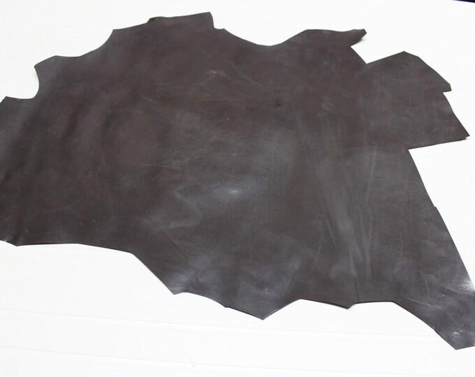 Italian strong Goatskin leather skin skins hide hides vtg SMOOTH DARK TAUPE 3+sqf #9582