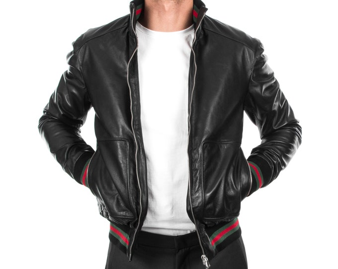 Italian handmade Men soft genuine lambskin Bomber leather jacket color Black S to XL