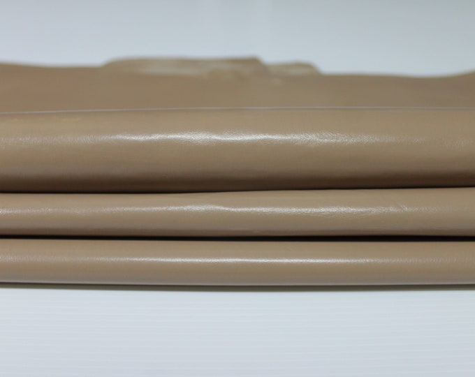 SANDY BROWN strong shiny Italian goatskin Goat leather material for sewing 6 skins hides total 12sqf 0.6mm #A4756