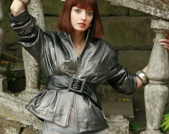 Made To Order Italian handmade Women genuine soft lambskin leather jacket Loose Fit METALLIC GUNMETAL