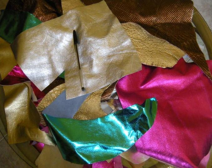 METALLIC Pieces SCRAPS & REMNANTS Italian lambskin lamb sheep soft genuine leather craft leatherwork 0.5-1lbs