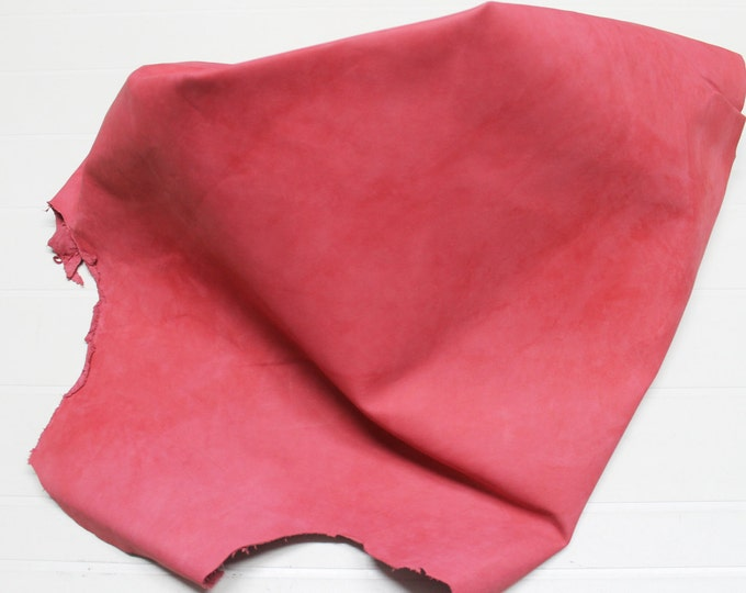 Italian Goatskin leather hide hides skin skins Unfinished RED ROSE FRENCH  6+sqf  #A448