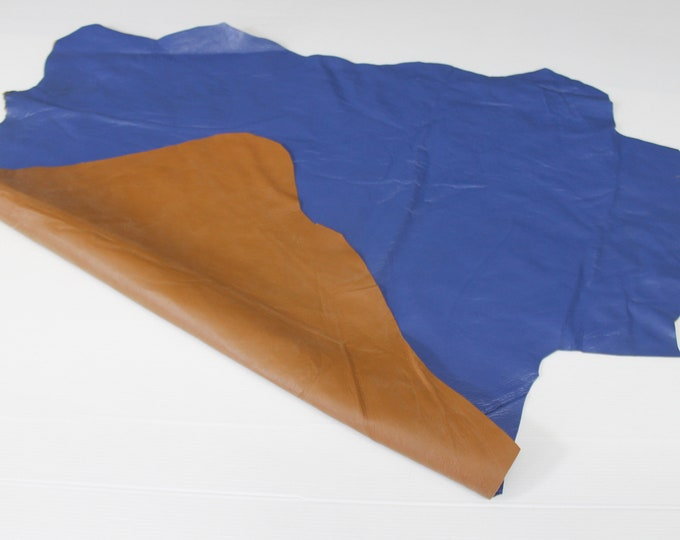 PATENT BLUE double face sided tan Italian Lambskin Lamb Sheep leather skin hide skins hides 5sqf 0.6mm #A6436