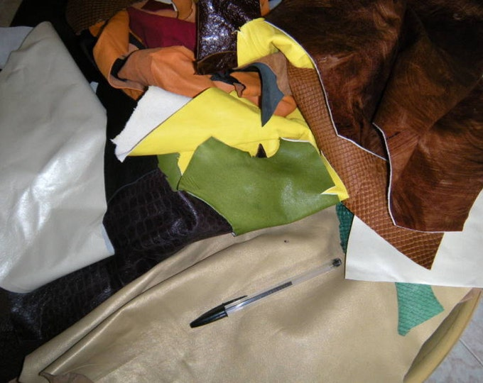 SCRAPS & REMNANTS 1lbs COLORED  Italian lambskin leather assorted colors craft lamb pieces scrap remnant leatherworking
