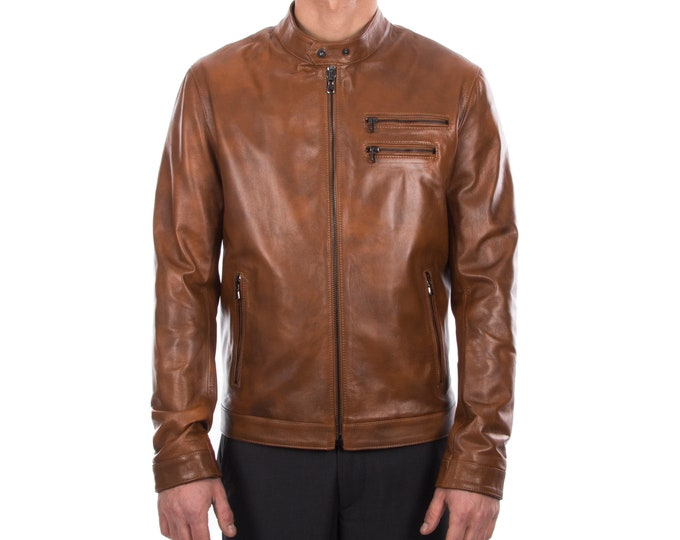 Italian handmade Fantastic slim fit Men soft genuine lambskin leather jacket color tan brown distressed S to 2XL