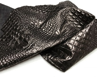Italian Lambskin leather 12 skins hides METALLIC BRONZE CROCODILE Alligator embossed 75-80sqf