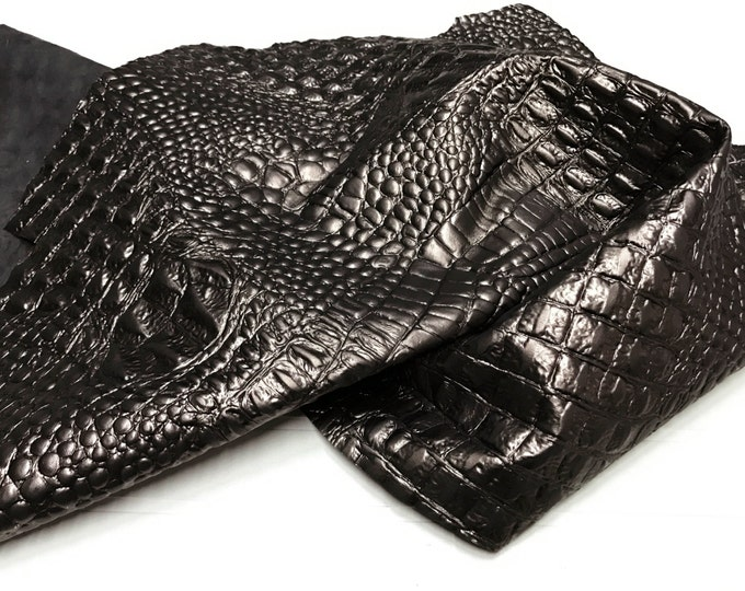 Italian Lambskin leather 12 skins hides METALLIC BRONZE CROCODILE Alligator embossed 75-80sqf