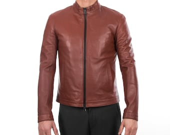 Italian handmade Fantastic slim fit Men soft genuine lambskin leather jacket color  BROWN S to 2XL
