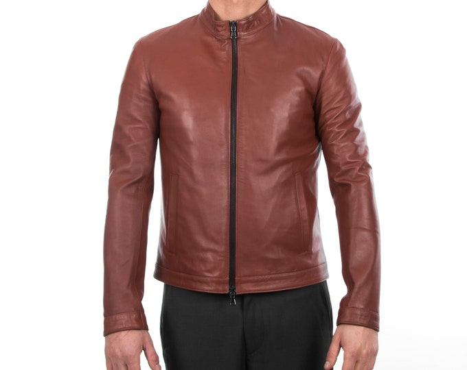 Italian handmade Fantastic slim fit Men soft genuine lambskin leather jacket color  BROWN S to 2XL