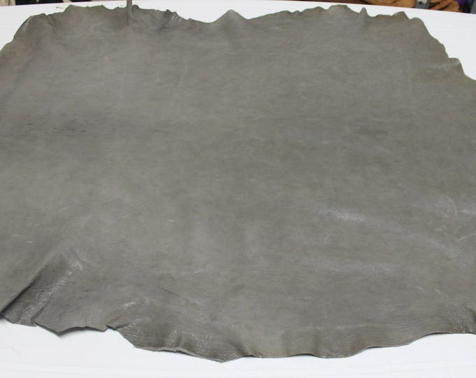 Italian Vegetable tan thick Goatskin Goat leather skin skins hide hides WASHED TAUPE GREY 7sqf #A2426