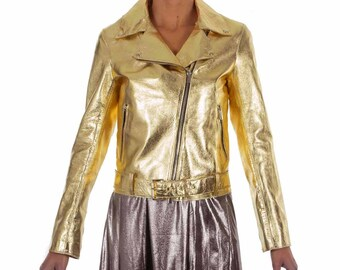 Italian handmade Women soft genuine lambskin lamb leather biker jacket slim fit color Metallic Gold