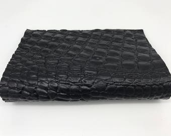 "BLACK CROCODILE ALLIGATOR textured Italian genuine lamb lambskin sheep leather piece sheet 8""x10"" material for sewing craft fabric 0.8mm"