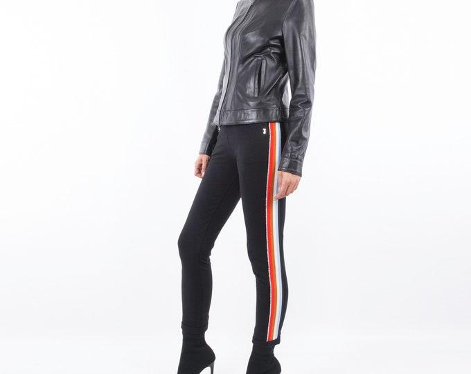 Italian handmade Women soft genuine lambskin leather fitted slim fit jacket color Black