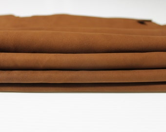 BROWN NABUCK SOFT Italian Lambskin Lamb Sheep Leather 10 economic skins hides total 60sqf 0.7mm #A5016