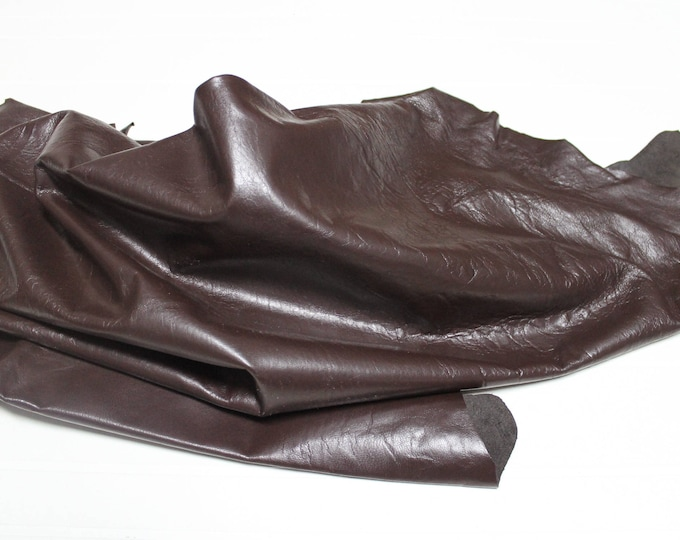 Italian Goatskin Goat leather skin skins hide hides CRINKLE SHINY BROWN 9sqf #A2410