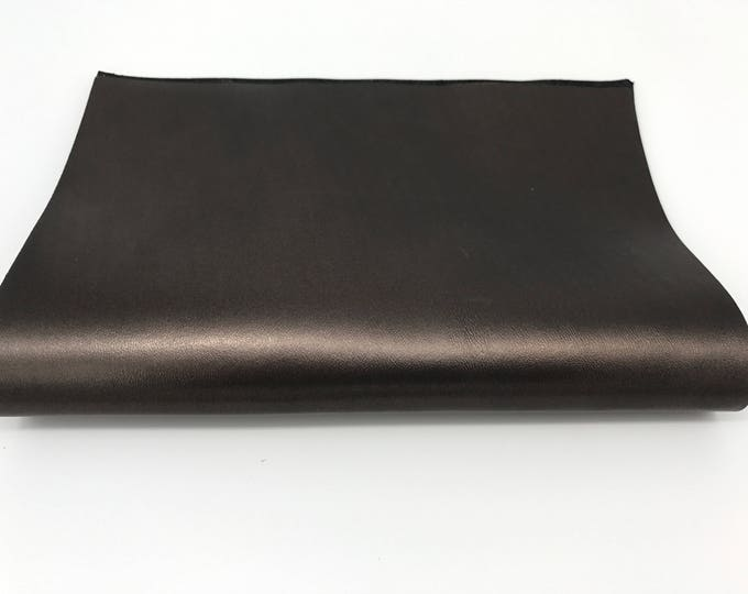 "Italian genuine lamb lambskin sheep leather piece 8.27""x11.69"" - 21cmx29.7cm size A4  METALLIC OLD BRONZE #CI12"