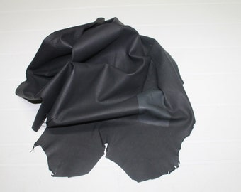 Italian soft Lambskin leather hide hides skin skins WASHED NATURAL ANTHRACITE 5sqf #A93