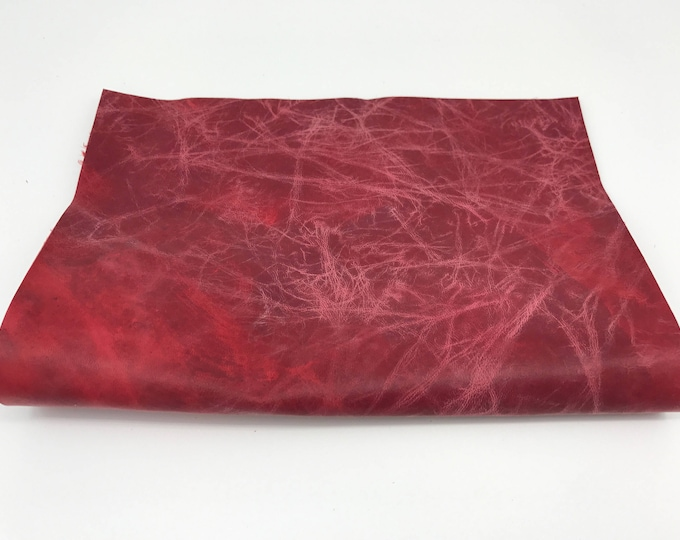 "Antiqued distressed Red vintage look Italian genuine lamb lambskin leather piece 8.27""x11.69"" - 21cmx29.7cm size A4 #CI38"