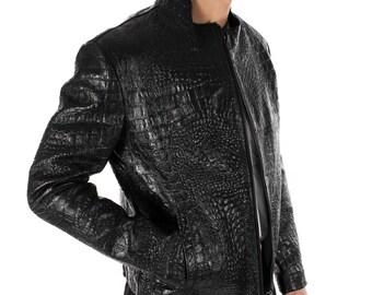 Italian handmade Men genuine lambskin leather jacket alligator crocodile Black