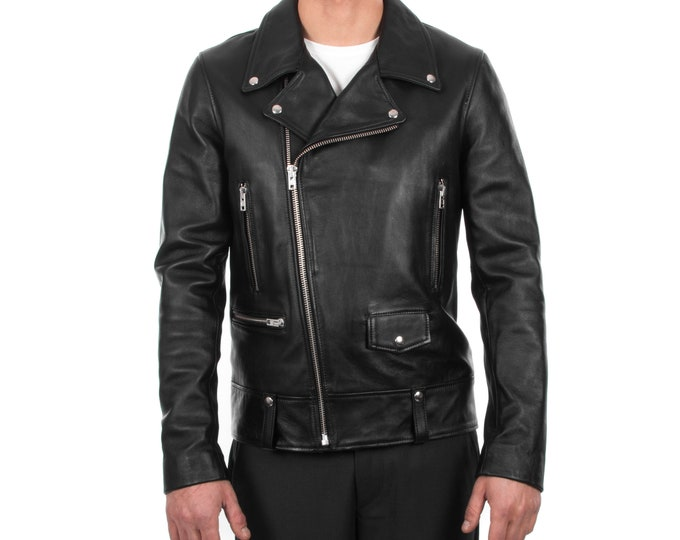 Italian handmade Men genuine lambskin leather biker jacket slim fit color black silver hardware S to 2XL