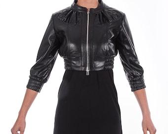 Italian handmade Women genuine leather cropped bomber jacket soft black