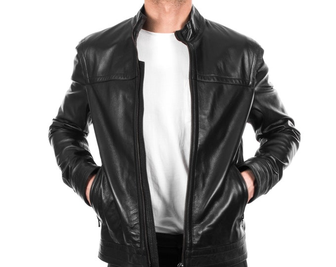 Italian handmade Men genuine lambskin leather jacket casual fit Black S to 3XL