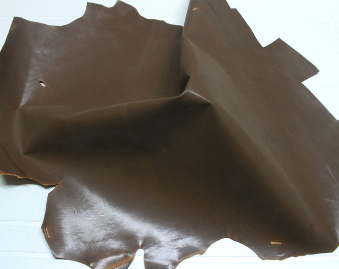 Italian strong Goatskin leather skin skins hide hides vtg SMOOTH KHAKI BROWN 4+sqf #9584