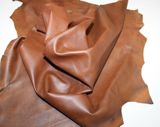 CUOIO TAN BROWN Distressed Italian Lambskin lamb leather  hide skin pelt 6+sqf