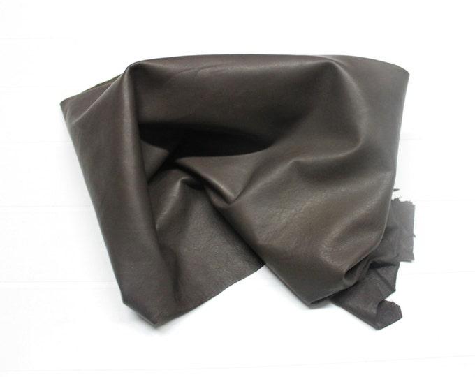 Italian soft Lambskin leather hide hides skin skins NATURAL BROWN  #10071  6+sqf