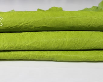 WASHED LIME GREEN textured vegetable tan thick strong Italian Goatskin Goat Leather 2 skins hides total 9sqf 1.5mm #A6901