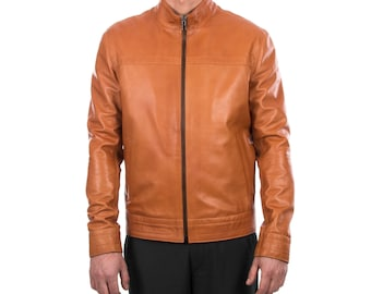 Italian handmade Men genuine lambskin leather jacket Casual fit color Tan S to 3XL