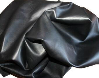 BLACK smooth sot Italian lambskin leather skin hide skins hides pelt pelts 4sqf