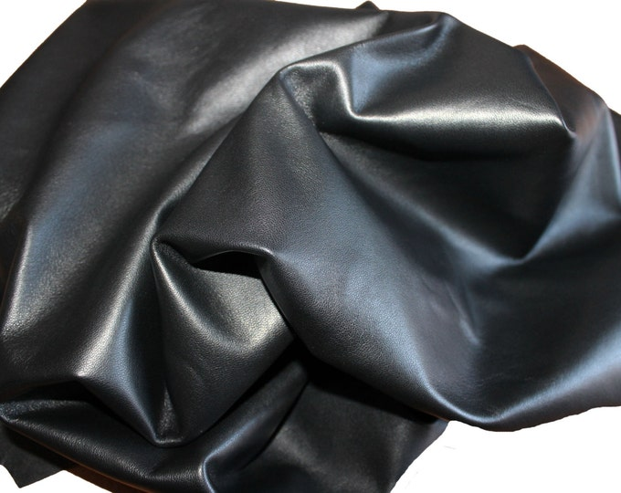 BLACK smooth sot Italian lambskin leather skin hide skins hides pelt pelts 9sqf