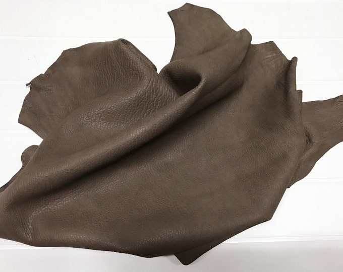 Italian Lambskin vegetable tan leather skin skins WASHED GRAINY BROWN 4+sqf