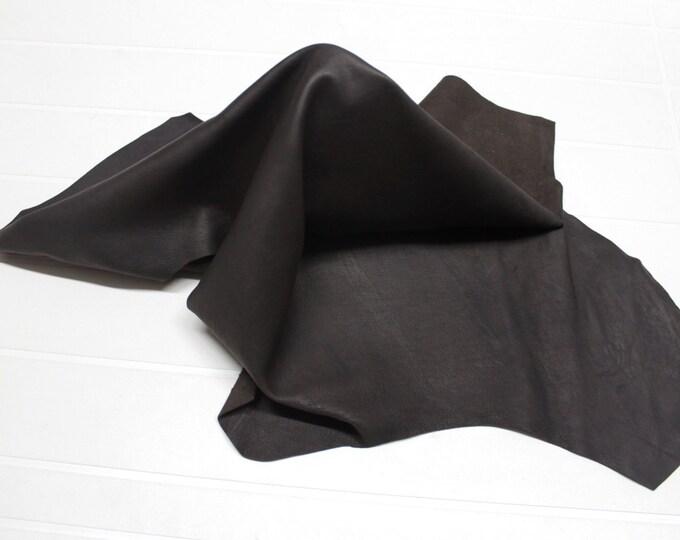 Italian Lambskin leather skin skins hide hides RUSTIC DARK BROWN 4+sqf #9607