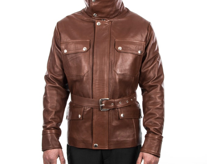 Italian handmade Men lambskin genuine leather jacket belted brown XS to 2XL