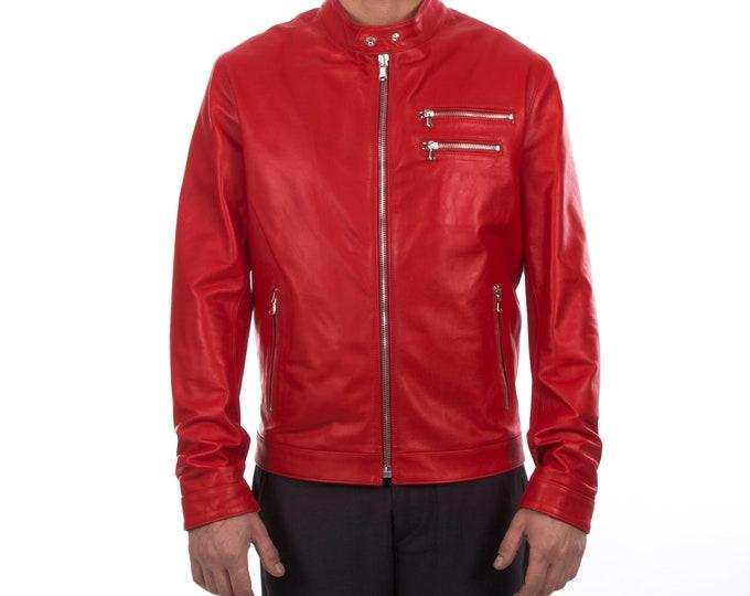 Italian handmade Fantastic slim fit Men soft genuine lambskin leather jacket color RED
