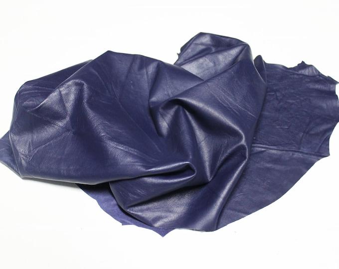 Italian Thin Soft Lambskin Lamb leather skin skins hide hides PURPLE WRINKLED 4+sqf #A2407