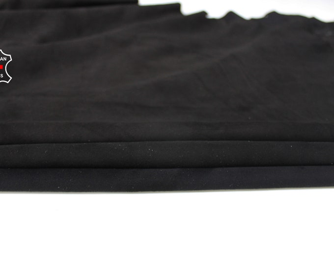 3 SHADES BLACK SUEDE soft Italian Lambskin Lamb Sheep leather material for sewing crafts 3 skins hides total 12+sqf 0.6mm #A6707