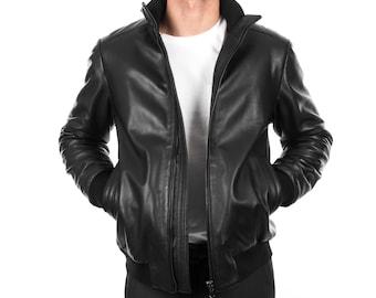 Italian handmade Men soft Genuine lambskin leather bomber jacket color Black comfortable fit