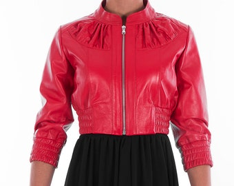 Italian handmade Women genuine leather cropped bomber jacket beautiful red