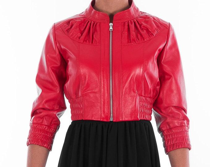 Italian handmade Women genuine leather cropped bomber jacket beautiful red