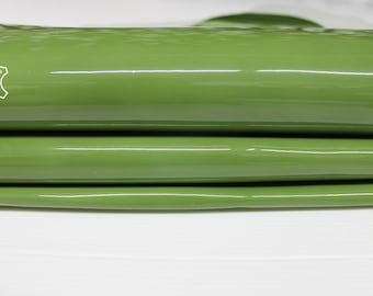 PATENT APPLE GREEN wet shiny look Italian Calfskin Calf Cow cowhide genuine leather upholstery skins 11+sqf 1.0mm #P4