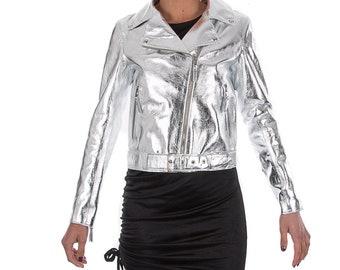 Italian handmade Women soft genuine lambskin lamb leather biker jacket slim fit color Metallic Silver