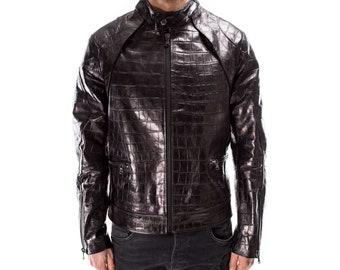 BLACK ALLIGATOR CROCODILE distressed Italian handmade Men genuine Goatskin leather jacket slim fit Xs to 3XL