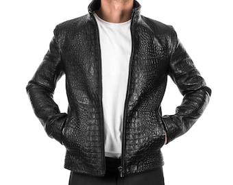 Italian handmade Men genuine Goatskin leather jacket slim fit alligator crocodile Black S to 3XL