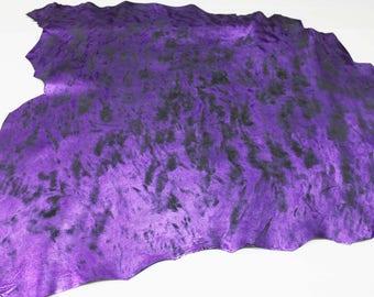 Italian lambskin leather 12 skins hides METALLIC PURPLE Distressed Antiqued 80-90sqf