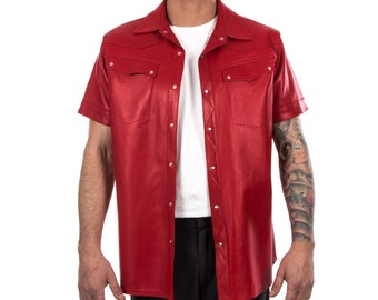 Italian handmade Men soft genuine lambskin leather shirt color RED S to XL