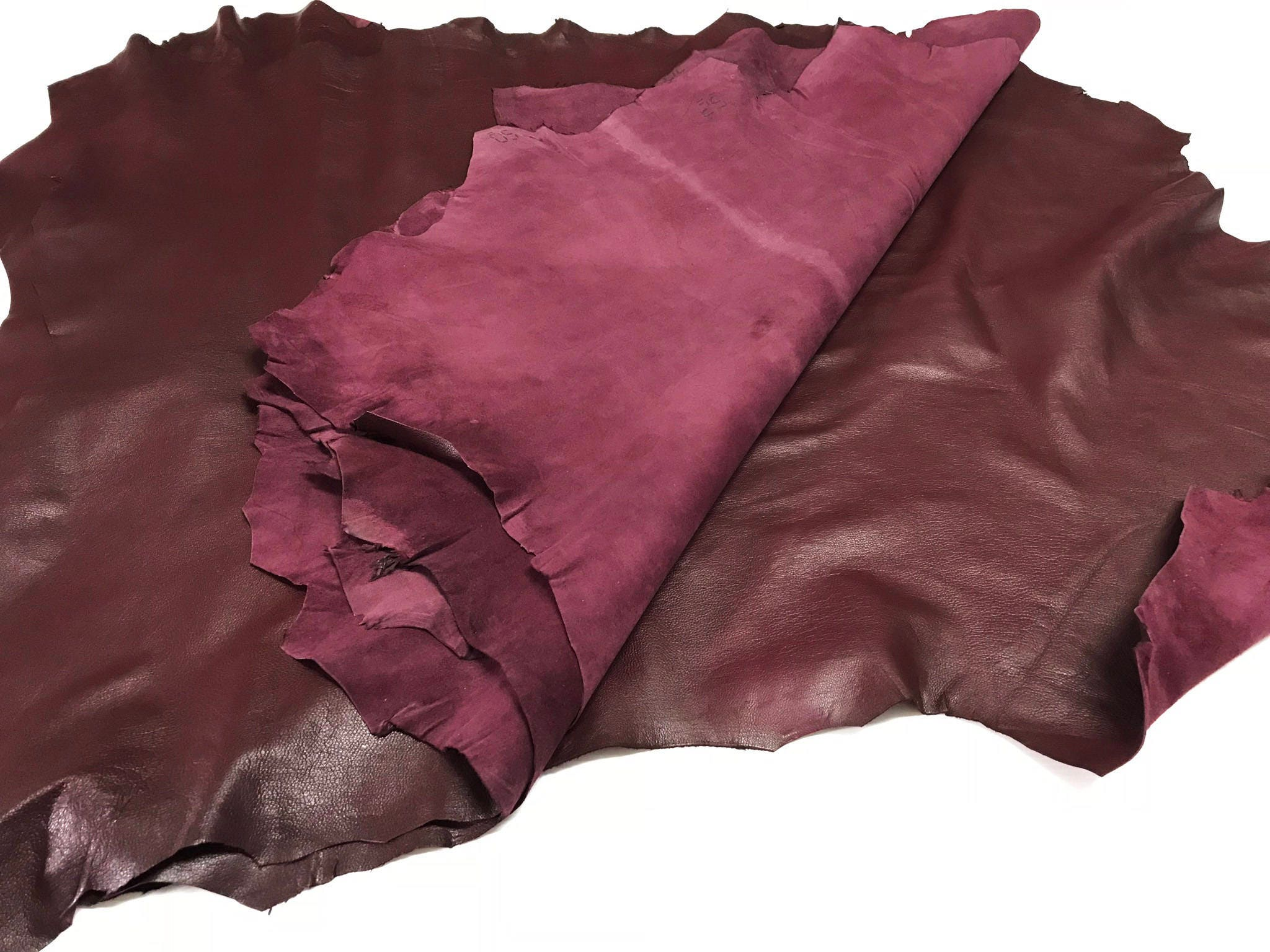 ITALIAN Goat Suede Leather Hide skin skins hides DARK RED WINE BURGUNDY # 450